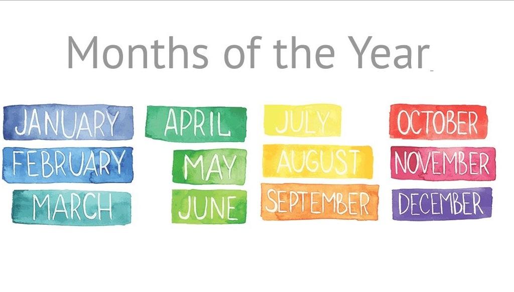 Các tháng bằng tiếng Anh