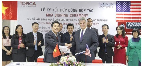 Lễ ký kết hợp đồng hợp tác giữa tổ chức topica và đại học Franklin