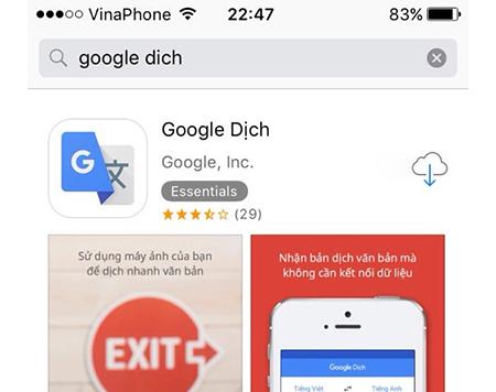 Ứng dụng học tiếng Anh Google Dịch