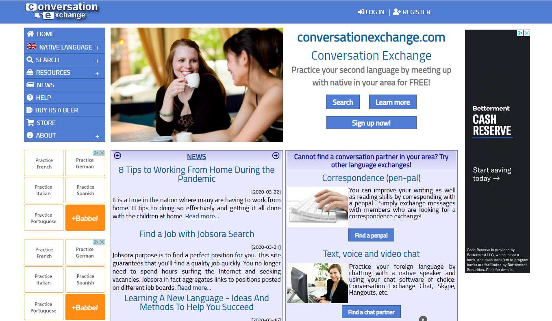 Conversation Exchange là website hữu ích giúp học tiếng Anh giao tiếp online với người nước ngoài