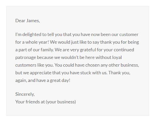 Thư cảm ơn vì sự ủng hộ của khách hàng trong suốt một năm
