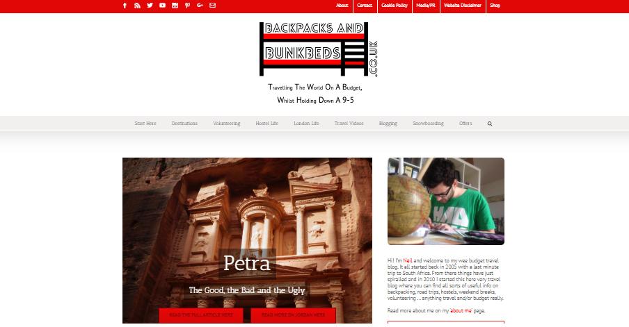 Backpacks and Bunkbeds là một trong những blog du lịch nổi tiếng nhất thế giới