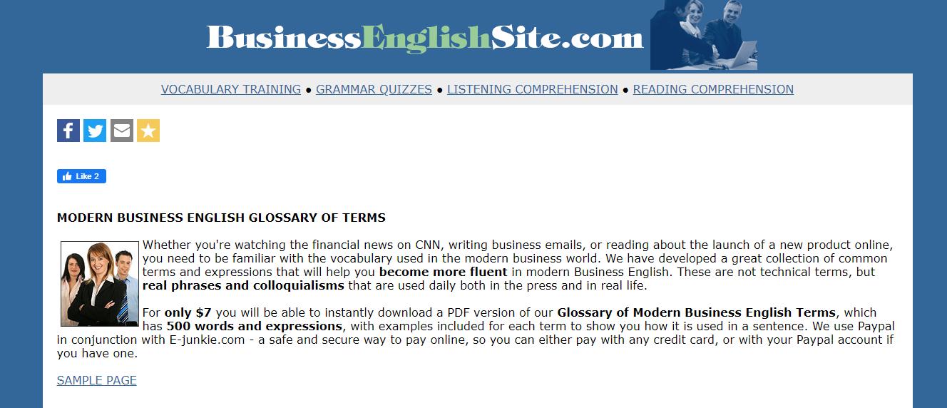 Website Business English Site cung cấp bài học rèn luyện nhiều kỹ năng khác nhau
