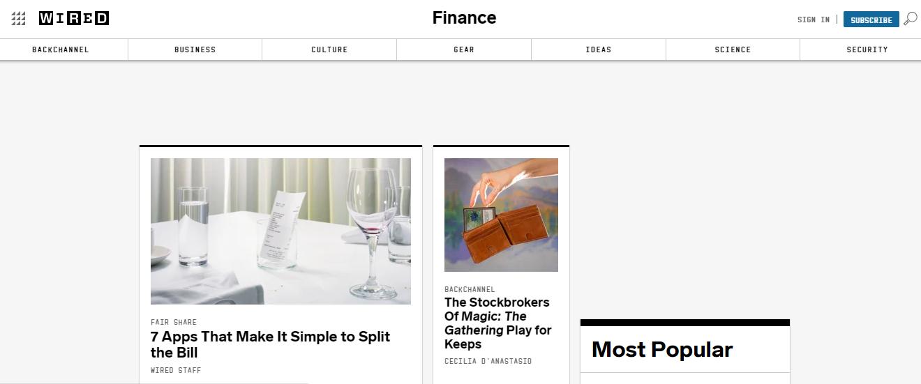 Wired Finance là trang tin tức tiếng Anh chuyên ngành Tài chính ngân hàng