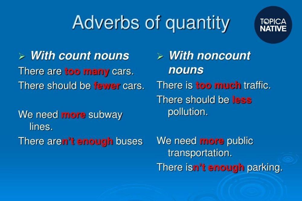 Trạng từ chỉ số lượng bổ sung thêm thông tin về số lượng của đồ vật, hiện tượng