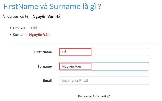Trường hợp chỉ có ô Firstname và Surname